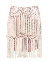 Boohoo - Pink Premium Harriet Sequin & Tassle Skirt - Lyst