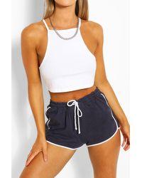 Boohoo Blue Womens Contrast Trim Drawcord Shorts