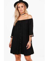 Boohoo Black Plus Faith Tassel Trim Off The Shoulder Swing Dress