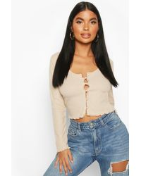 Boohoo Multicolor Petite Brushed Ribbed Button Up Cardigan