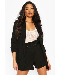 Boohoo Black Womens Tailored Paper Bag Belted Shorts