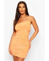 Boohoo Orange Womens Neon One Shoulder Ruched Mini Dress