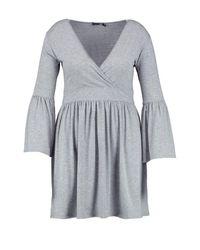 Boohoo Gray Plus Amelia Wrap Front Skater Dress