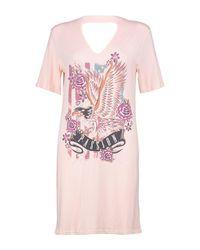 Boohoo Pink Aly Choker Neck Printed Band T-shirt Dress
