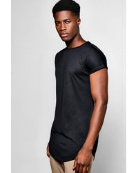 Boohoo Black Longline Cap Sleeve T Shirt With Curved Hem for men