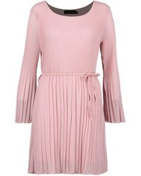 Boohoo Pink Polly Pleated Shift Dress