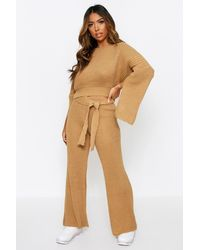 Boohoo Natural Womens Knitted Pants & Sweater Co Ord