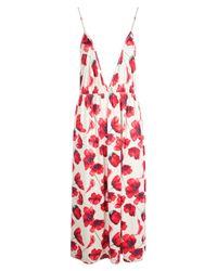 Boohoo White Gia Poppy Print Plunge Midi Skater Dress