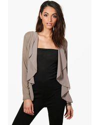 Boohoo Multicolor Alison Lightweight Waterfall Chiffon Jersey Jacket
