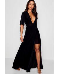 Boohoo Womens Slinky Plunge Kimono Sleeve Maxi Dress - Black - 4