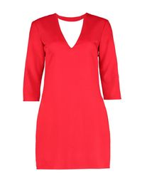 2c5fac066ce1 Lyst - Boohoo Choker Plunge Shift Dress in Red