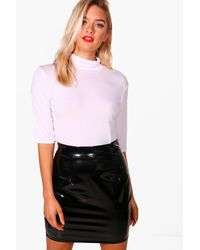 Boohoo White Amilie 3/4 Sleeve Roll Neck