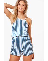 Boohoo Blue Petite Lyla High Neck Stripe Playsuit