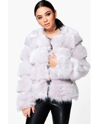 Boohoo - Gray Jasmine Faux Fur Panelled Coat - Lyst