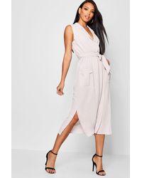 Boohoo Gray Sleeveless Belted Midi Shirt Dress