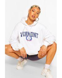 Sudadera Muy Ancha Con Capucha Y Eslogan Vermont Boohoo de color White