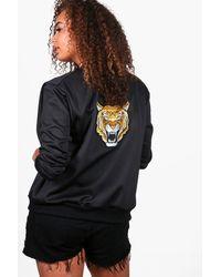 Boohoo Black Plus Emma Tiger Embroidered Bomber Jacket
