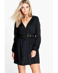 Boohoo Black Sara Lace Trim Long Sleeve Shirt Dress