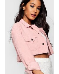 4400f7b6da0d Lyst - Boohoo Cord Crop Denim Jacket in Pink