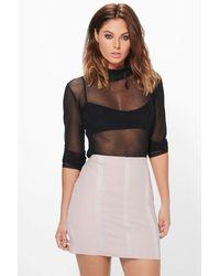 Boohoo Gray Alea Panelled Scuba Mini Skirt