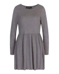 Boohoo Gray Round Neck Long Sleeve Skater Dress