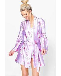 Boohoo Purple Millie Satin Unicorn Print Kimono Robe