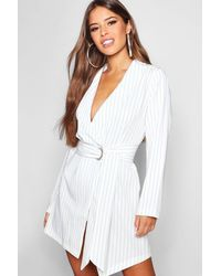 5c66b57bc723 Boohoo Petite Pinstripe Tie Side Blazer Dress in White - Lyst