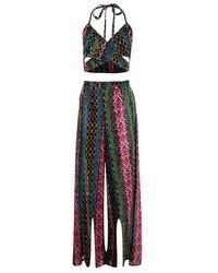 Boohoo - Multicolor Olivia Neon Aztec Split Leg Beach Co-ord - Lyst