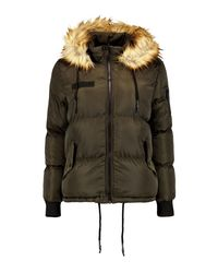 Boohoo Natural Anna Short Faux Fur Collar Quilted Jacket