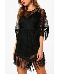 Boohoo Black Boutique Lace And Tassel Playsuit