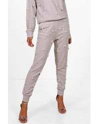 Boohoo Gray Pearl Detail Sweat & Jogger Set