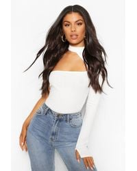 Boohoo White Soft Rib Cut Out One Shoulder One Piece