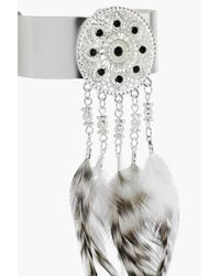 Boohoo - Metallic Amelia Feather Embellished Arm Cuff - Lyst