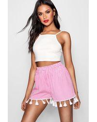 Boohoo - Pink Candy Striped Tassel Hem Shorts - Lyst