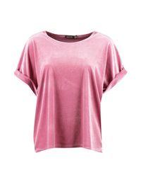 Boohoo Pink Velvet Oversized T-shirt