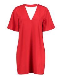 Boohoo Red Thea Choker Flute Sleeve Shift Dress