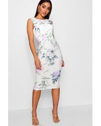 Boohoo Multicolor Floral Open Back Detail Midi Dress