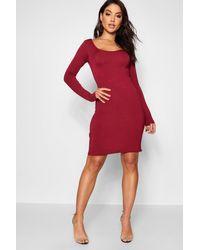 Boohoo Red Long Sleeve Scoop Neck Bodycon Dress