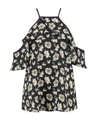 Boohoo Black Sally Dark Floral Cold Shoulder Top