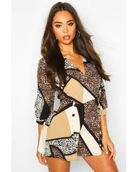 Boohoo Multicolor Womens Leopard Mix Blazer Playsuit