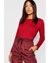 Boohoo Red Womens Basic Long Sleeve Crew Neck T-shirt