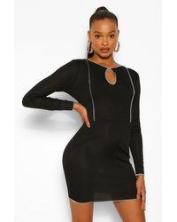 Boohoo Black Womens Geripptes Mini-Kleid Mit Schlüssellochausschnitt Und Kontrastnaht