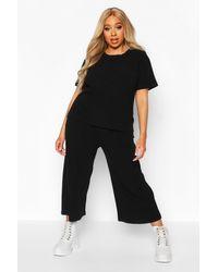 Boohoo Black Plus Soft Rib T-shirt + Culotte Co-ord