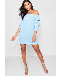 Boohoo - Blue Cara Slash Neck Fisherman Jumper Dress - Lyst