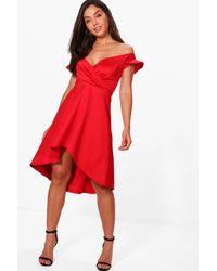 Boohoo Red Alecta Frill Off Shoulder Skater Dress
