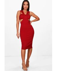 Boohoo Red Cut Out Detail Midi Dress