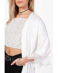 Boohoo - White Crochet Trim Kimono - Lyst