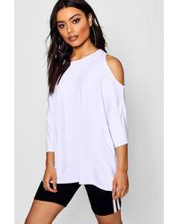 Boohoo White Oversized Cold Shoulder T-shirt