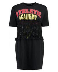 Boohoo - Black Louise Shearing Printed T-shirt Dress - Lyst