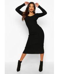 Robe Épaule Dénudée Côtelée Boohoo en coloris Black